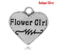 "5 Antique Silver Heart "" Flower Girl "" Engraved Charm"